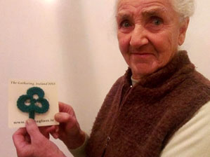Phyllis Flanagan with one of her crocheted shamrocks